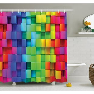 Check Prices Rainbow Color Contour Display Futuristic Block Brick-Like Geometric Artisan Shower Curtain Set By Ambesonne