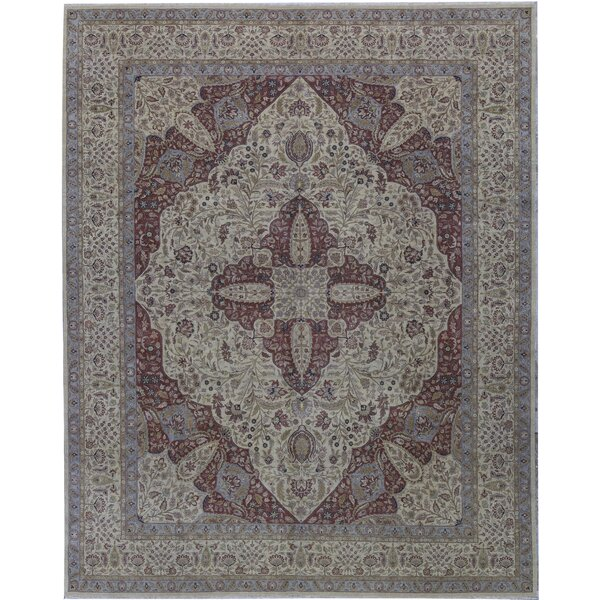 One-of-a-Kind Hand-Knotted Beige 11'9 x 14'9 Wool Area Rug
