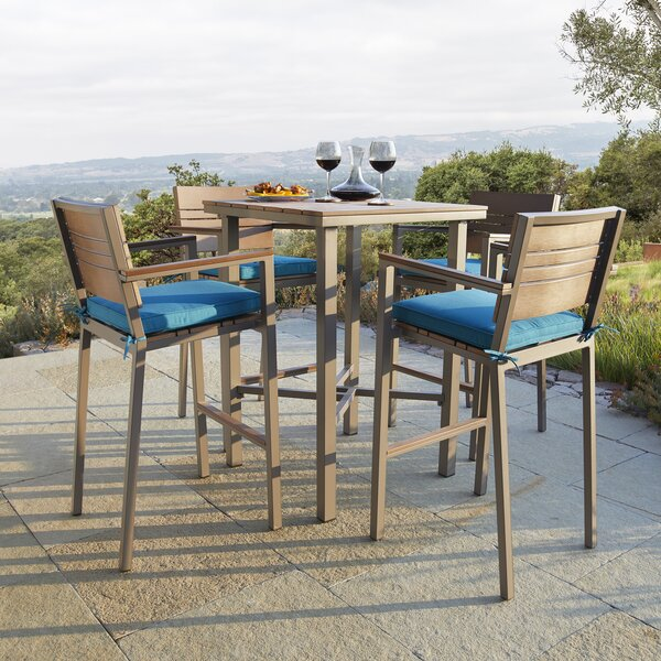 Ranallo 5 Piece Bar Height Dining Set with Sunbrella Cushions by Ebern Designs