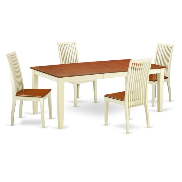 Pilger 5 Piece Solid Wood Dining Set by August Grove August Grove