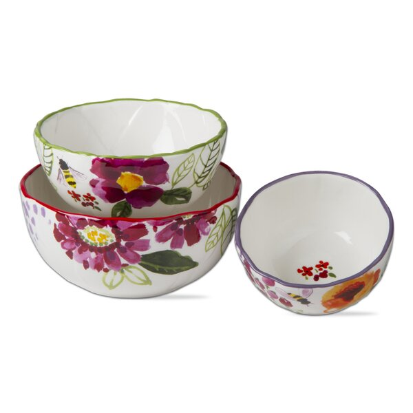 Fresh Flowers 3 Piece Stoneware Mixing Bowl Set by TAG