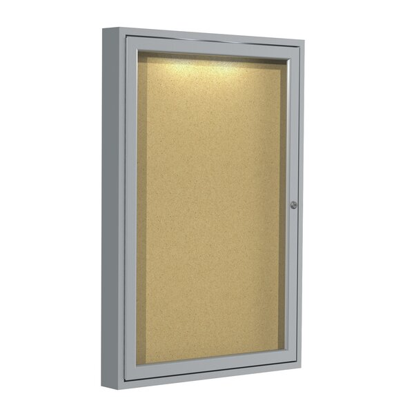 Ghent 3 Door Enclosed Cork Bulletin Board with Concealed Lighting by Ghent