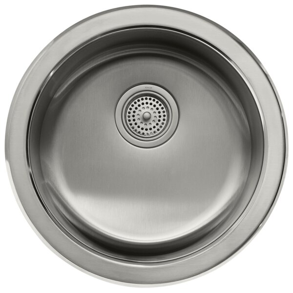 Undertone  Lyric 18-3 8 Diameter x 7-5 8 Top-Mount Under-Mount Single Circular Bowl Kitchen Sink by Kohler