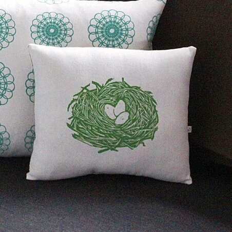 Squillow Nest Block Print Accent Cotton Throw Pillow by Artgoodies