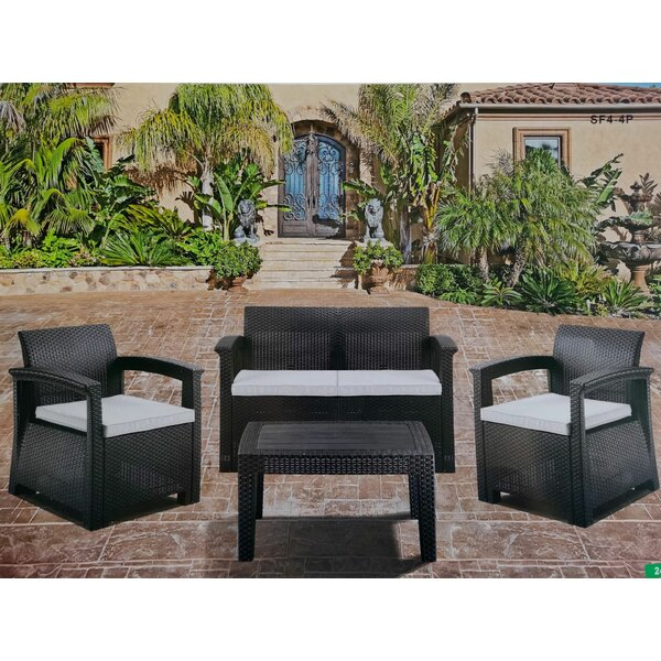 5 Piece Rattan Sofa Seating Group with Cushions by Latitude Run