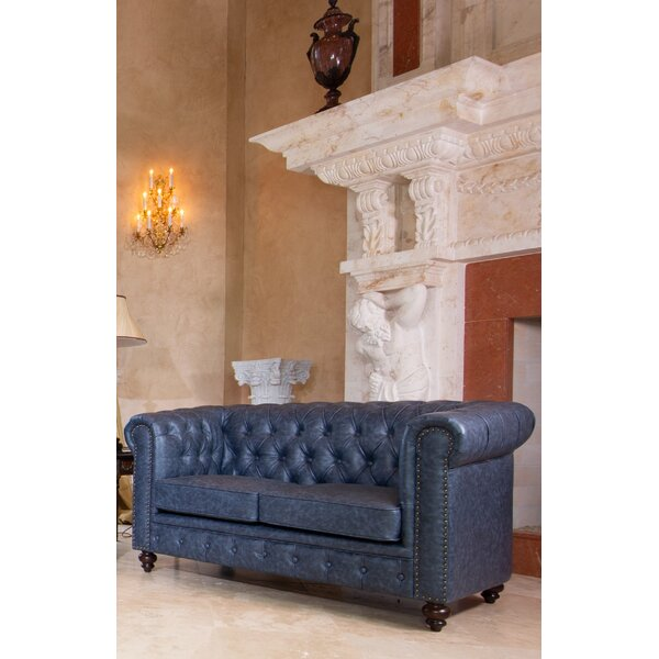 Vezina Chesterfield 65 Inches Rolled Arms Loveseat By Canora Grey