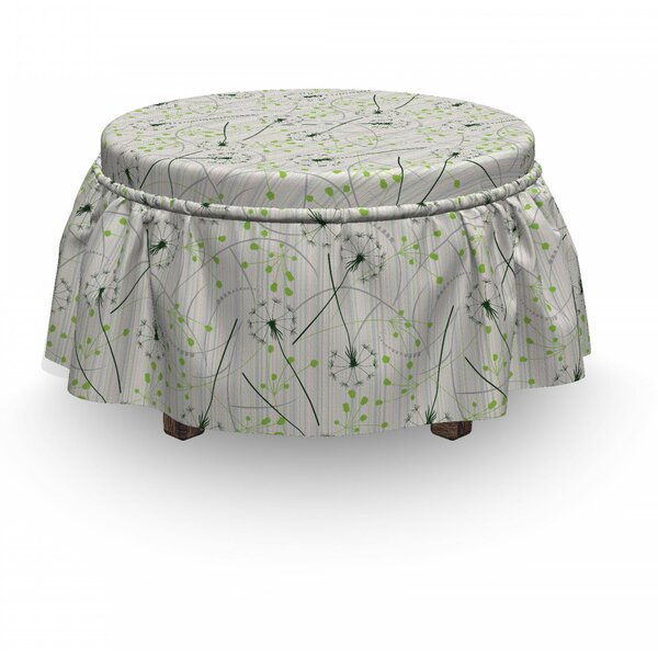 Review Dandelion Blowball Flower Motif 2 Piece Box Cushion Ottoman Slipcover Set