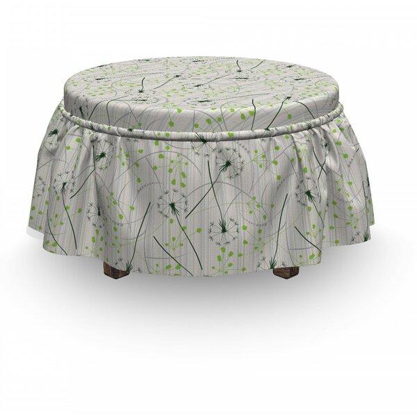 Price Sale Dandelion Blowball Flower Motif 2 Piece Box Cushion Ottoman Slipcover Set