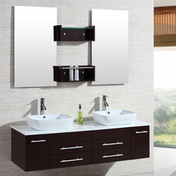 60 Double Floating Bathroom Vanity Set with Mirror by Kokols