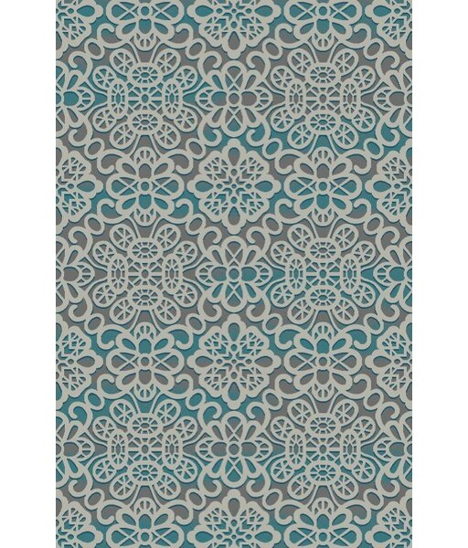 Asmah Turquoise/Silver Indoor/Outdoor Area Rug by World Menagerie