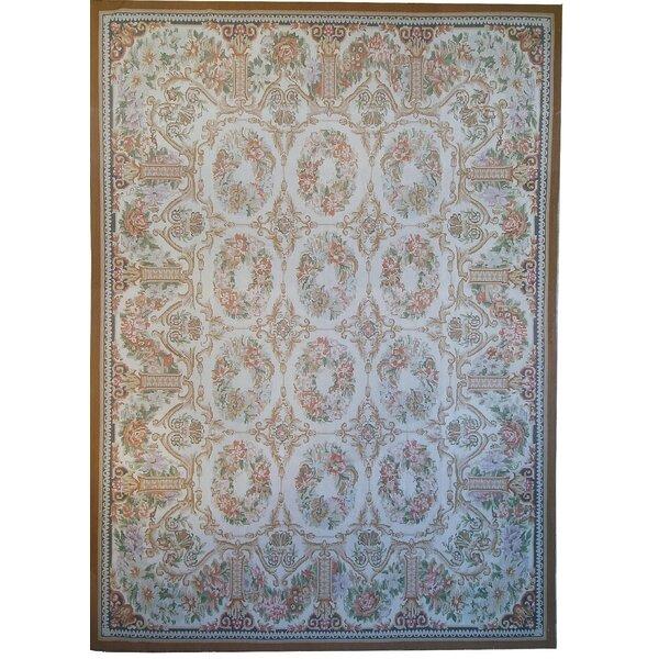 Aubusson Oriental Wool Ivory Area Rug