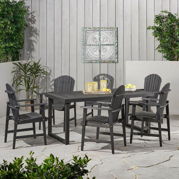 Carner Outdoor Acacia Wood 7 Piece Dining Set