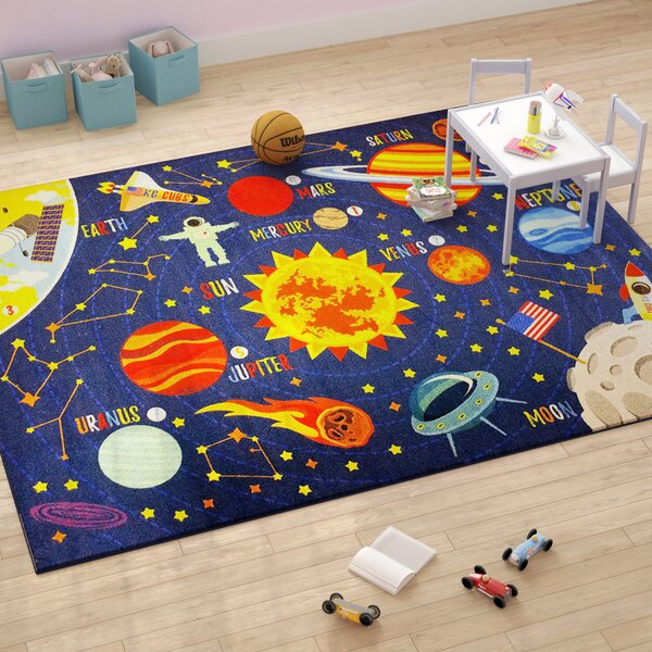 Weranna Outer Space Safari Road Map Educational Learning Blue Indoor/Outdoor Area Rug by Zoomie Kids