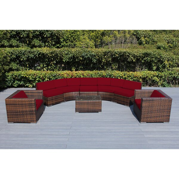Baril Curved 8 Piece Sunbrella Sectional Seating Group Set with Cushions by Wade Logan