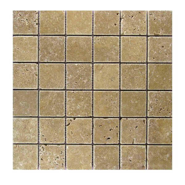 Tumbled 2 x 2 Natural Stone Mosaic Tile in Noce by QDI Surfaces