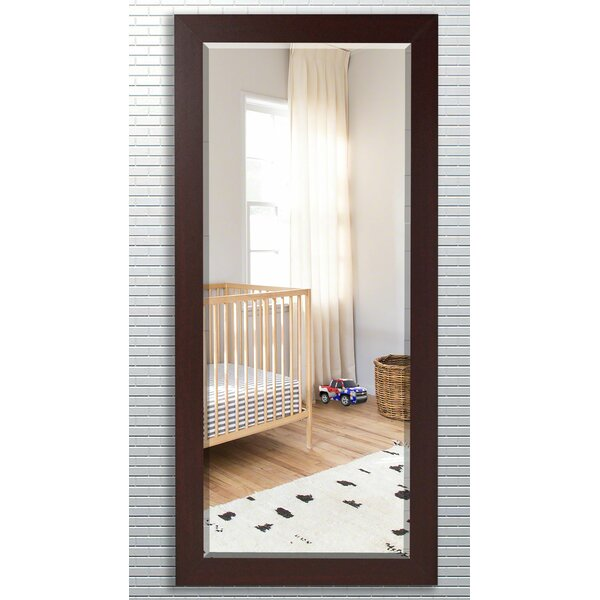 Wood Grain Frame Beveled Traditional Wall Mirror
