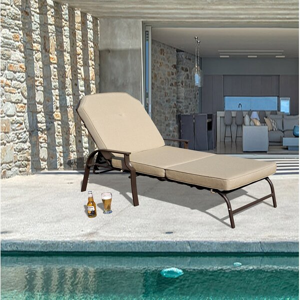 Swenson Outdoor Chaise Lounge with Cushion by Ebern Designs