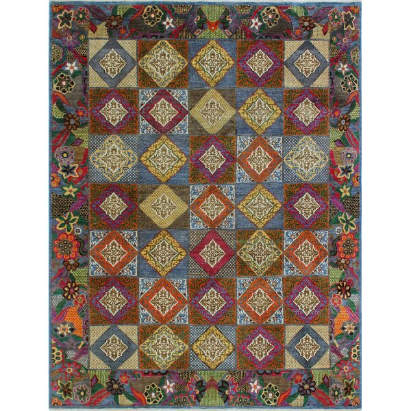 One-of-a-Kind Altom Fine Chobi Hand-Knotted Wool Beige/Blue Area Rug by Isabelline