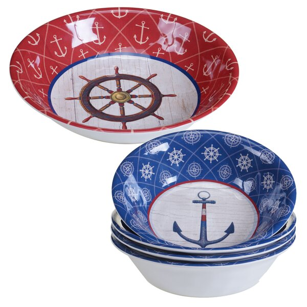 Nautique 5 Piece Heavy Weight Melamine Salad Serving Bowl Set by Certified International