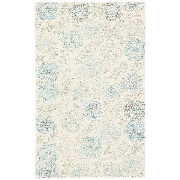 Rushin Zinnia Floral Hand-Tufted Blue/Ivory Area Rug by Charlton Home