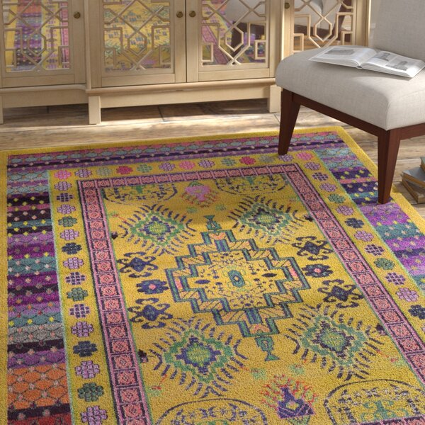 Iris Gold Area Rug by Bungalow Rose