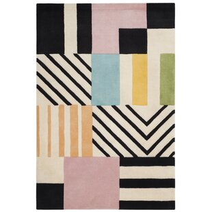 Read Reviews Dominica Hand-Tufted Wool Ivory/Black Area Rug By Wrought Studio