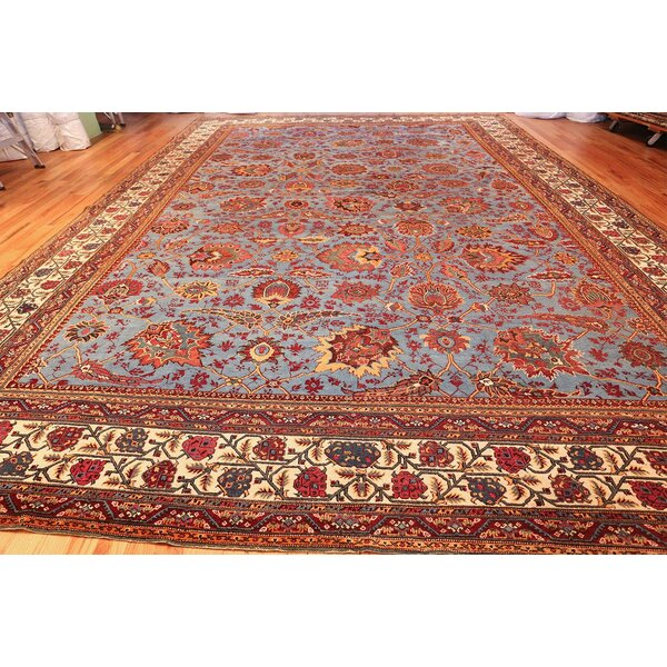One-of-a-Kind Agra Hand-Knotted 1900s Blue 13' x 18'7 Wool Area Rug