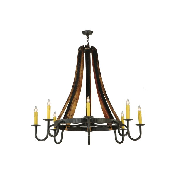 Keyone 8 - Light Candle Style Wagon Wheel Chandelier by Foundry Select Foundry Select