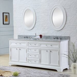 Bergin Double Sink Bathroom Vanity Set with Mirror