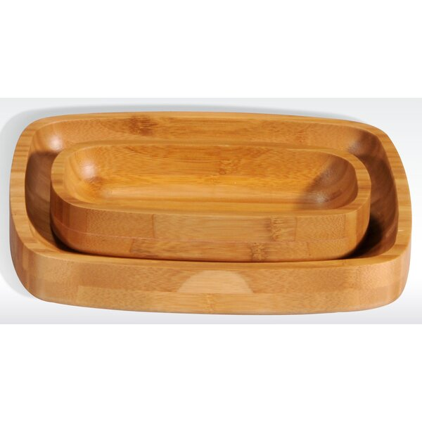 Bamboo Rectangular Serving Tray (Set of 12) by Creative Home