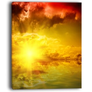 Red Dramatic Sky with Yellow Sun Landscape Wall Art on Wrapped Canvas by Design Art