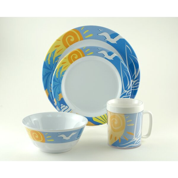 Decorated Ocean Breeze Melamine 24 Piece Dinnerware Set, Service for 6 by Galleyware Company