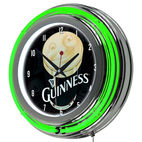 Guinness Smiling Pint Neon 14.5 Wall Clock by Trademark Global