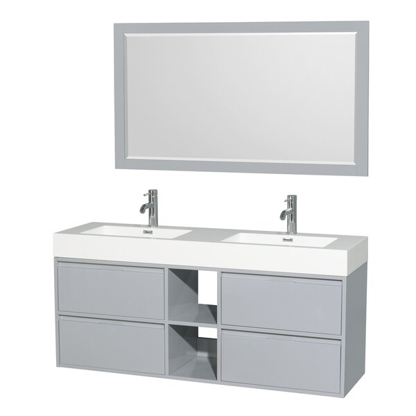 Daniella 60 Double Bathroom Vanity Set with Mirror by Wyndham Collection