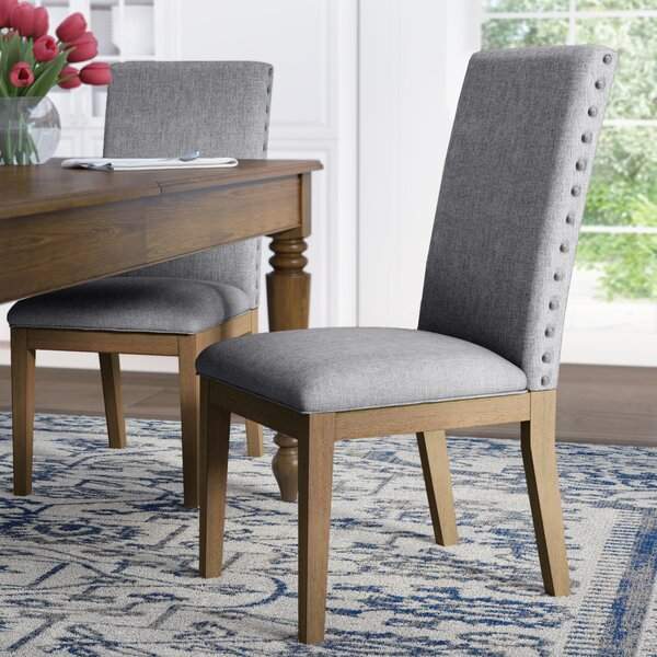 Tamarack Linen Nailhead Upholstered Dining Chair (Set of 2) by Three Posts