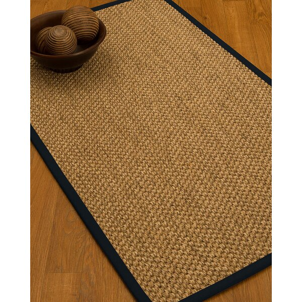 Heier Border Hand-Woven Brown/Midnight Blue Area Rug by Bloomsbury Market