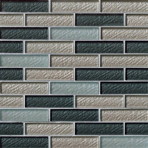 Cielo Brick 1 x 4 Glass Mosaic Tile in Blue by MSI