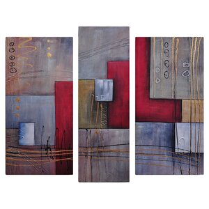 'Staff Against Cubes' 3 Piece Painting Wrapped Canvas Art Set by Red Barrel Studio