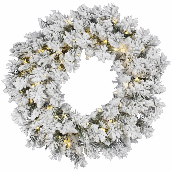 Flocked Snow Ridge Sprays Wreath with 100 LED Lights by Vickerman