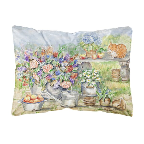 Salzman Patio Bouquet and Cat Fabric Indoor/Outdoor Throw Pillow by Winston Porter