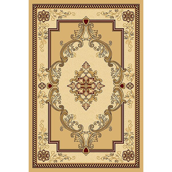 Ramsel 3D Traditional Oriental Floral Beige/Cream Area Rug by Astoria Grand