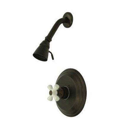 Vintage Pressure Balanced Shower Faucet with Porcelain Cross Handles by Elements of Design