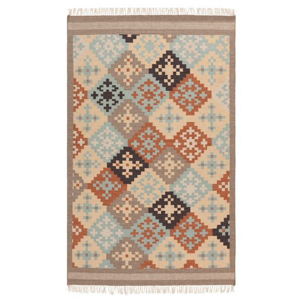Wellsville Hand Woven Wool Blue/Beige/Brown Area Rug by Loon Peak