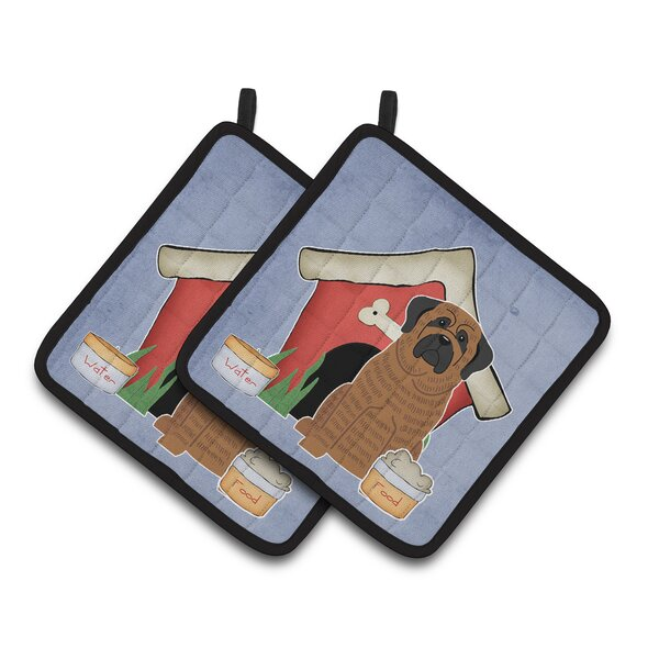Dog House Mastiff Brindle Potholder (Set of 2) by Caroline's Treasures