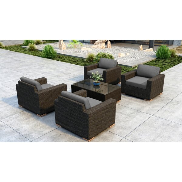 Glen Ellyn 5 Piece Sunbrella Sofa Seating Group with Cushions by Everly Quinn