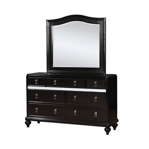 Evans 7 Drawer Double Dresser with Mirror by Rosdorf Park