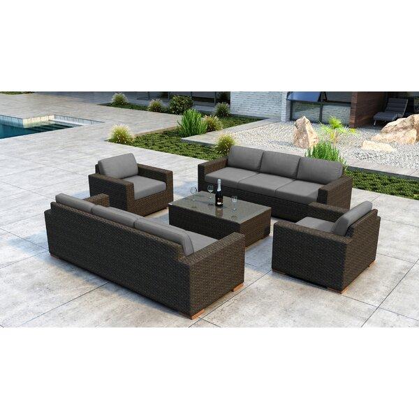 Glen Ellyn 5 Piece Rattan Sunbrella Sofa Seating Group with Cushions by Everly Quinn