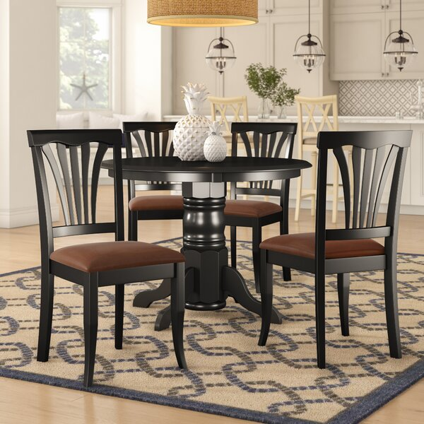 Langwater Traditional 5 Piece Pedestal Dining Set by Beachcrest Home Beachcrest Home