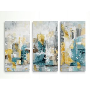 'City Views I' Acrylic Painting Print Multi-Piece Image on Gallery Wrapped Canvas by George Oliver