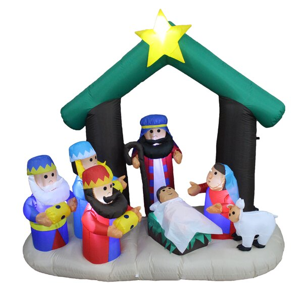 Christmas Inflatable Nativity Scene with Three Kings by The Holiday Aisle